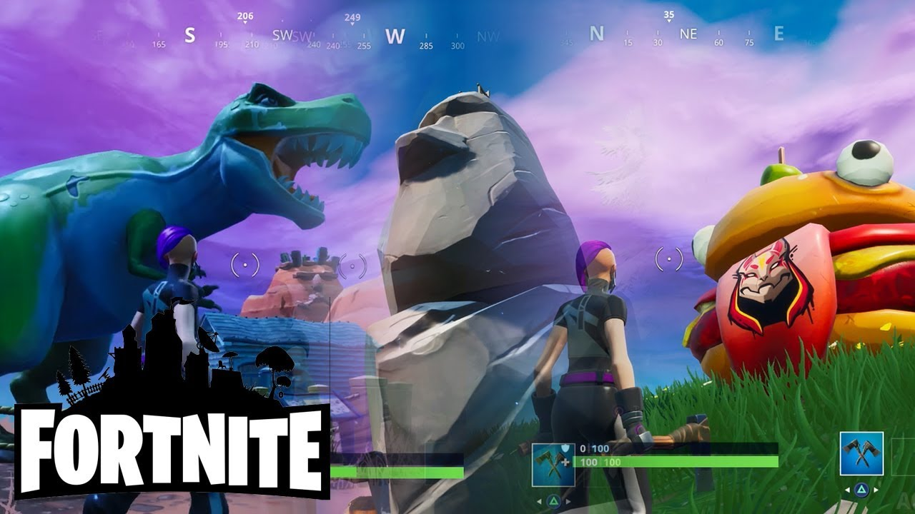 Fortnite Seaon 10 - Where to Find Burger, Stone Head Statue and Dinosaur (Road Trip Challenge) #1