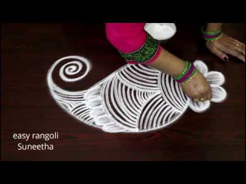 Excellent swan with flower kolam    Beautiful designs with out dots    easy n simple rangoli muggulu