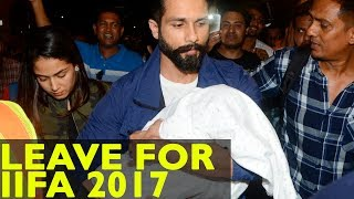 Shahid Kapoor, Mira Rajput And Baby Misha Leave For Iifa 2017