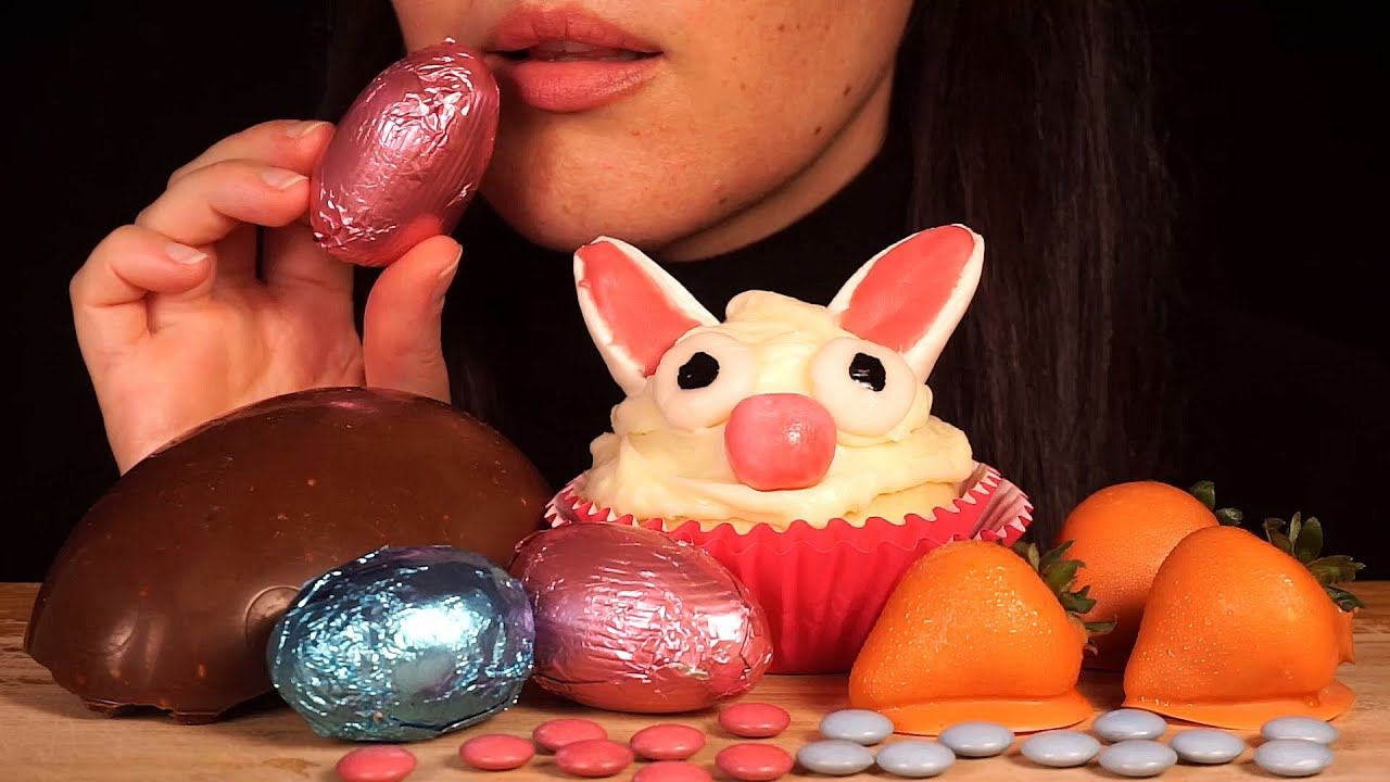 ASMR Easter Bunny Cupcake, Chocolate Eggs, Carrot Strawberries | Eating Sounds (No Talking)
