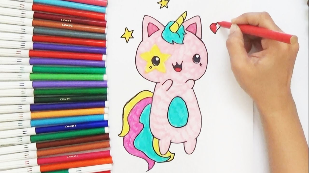 How To Draw Cute Cat Unicorn For Kids