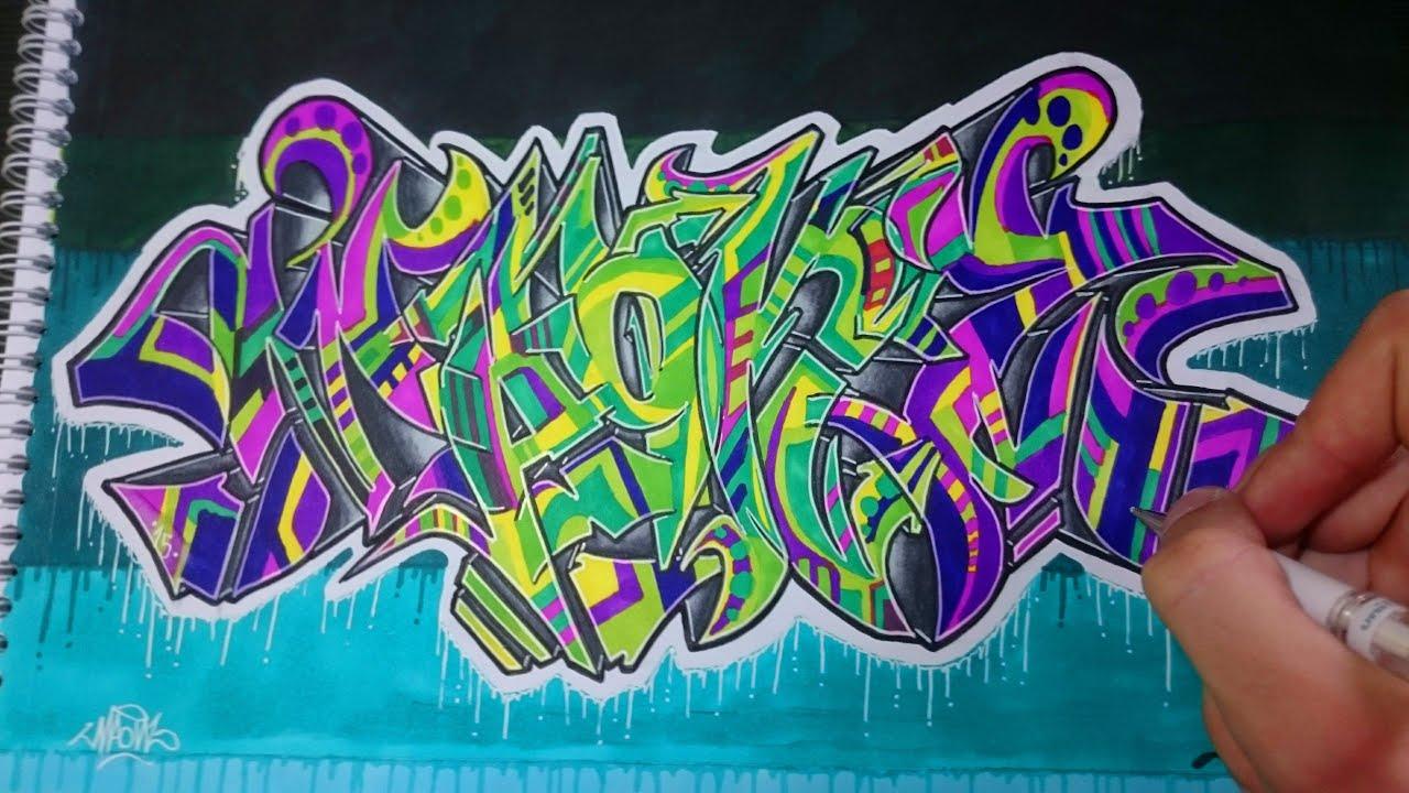 Graffiti con letras wildstyle en papel maonz youtube - Graffitis en papel ...