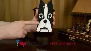 """Фирменная задняя панель-накладка с объёмным 3D изображением для Sony Xperia C3 """"черно-белая Собака"""""""
