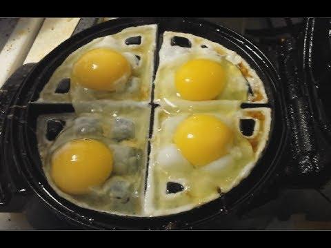 Eggs meet waffle machine