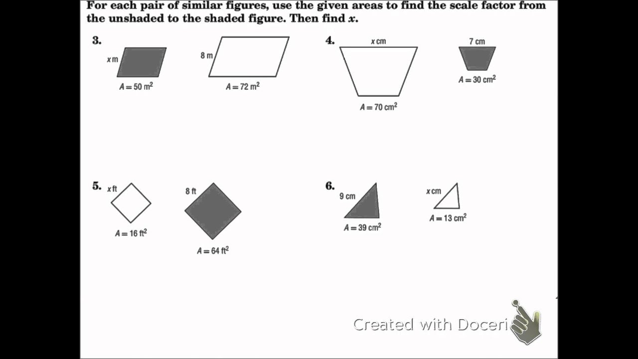 Uncategorized Similar Figures And Proportions Worksheet geometry 11 5 areas of similar figures youtube
