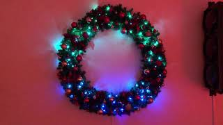 Twinkly lights on a Christmas wreath all effects demo