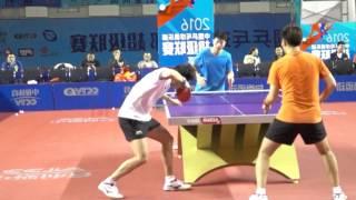 《乒乓球慢动作教学视频》第73集:林高远正手逆旋转发球多角度超级慢镜头