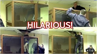 Viral Russian Suspect Tries To Escape From Moscow Court Through Ceiling Watch What Happens Next