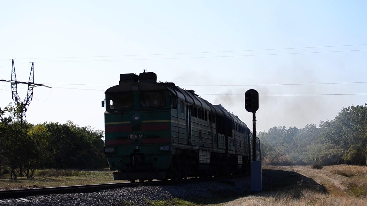 2ТЭ116-1516 следует с поездом №262 сообщением Бердянск-Харьков по перегону Бердянск-Берда.