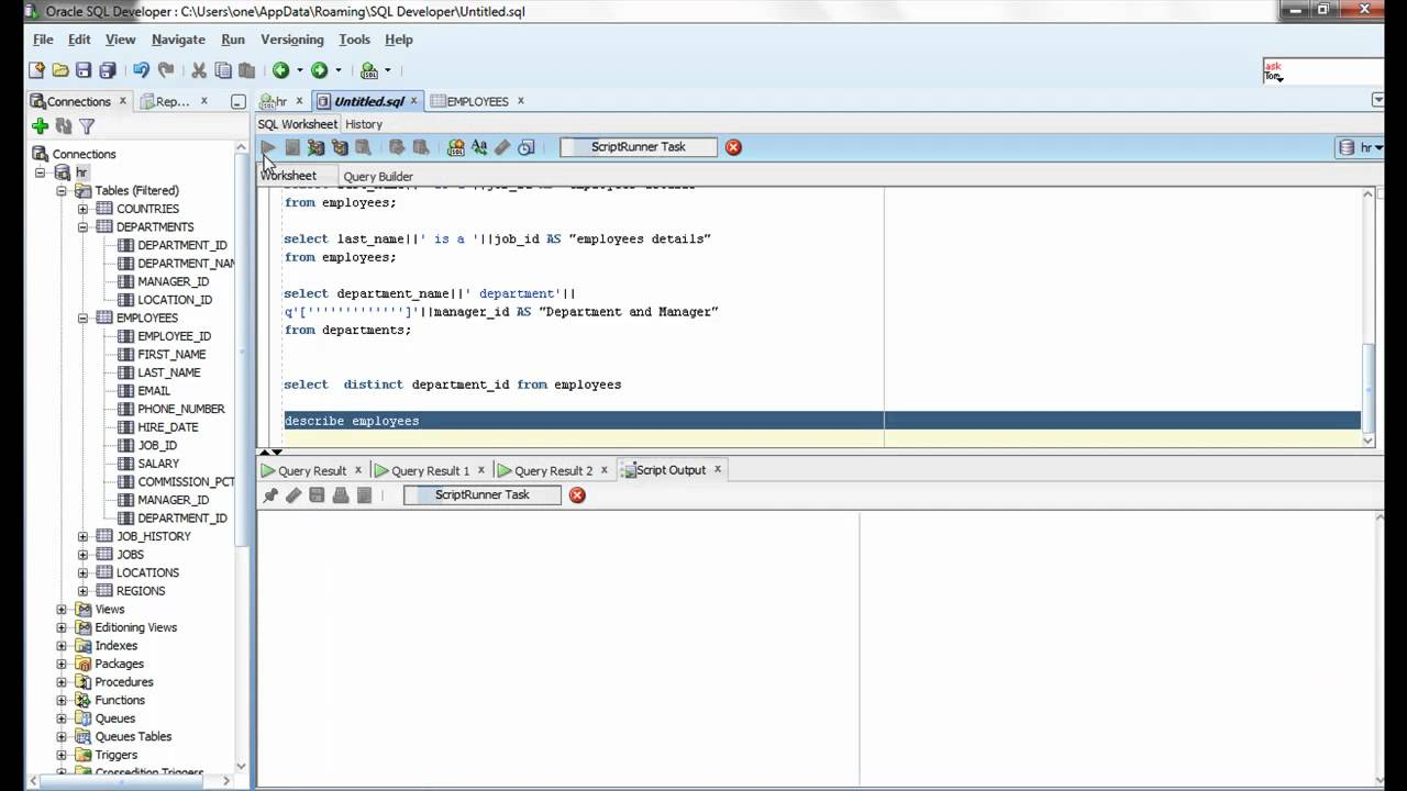 Oracle SQL Video tutorial 7 : DESCRIBE Command - YouTube