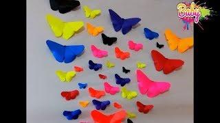 كيف تصنع فراشة بالورق لتزيين المدارس وغرف الاطفال 💗طريقة سهلة جدا💗