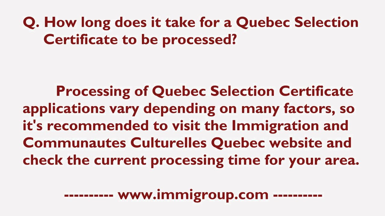 certificate quebec selection