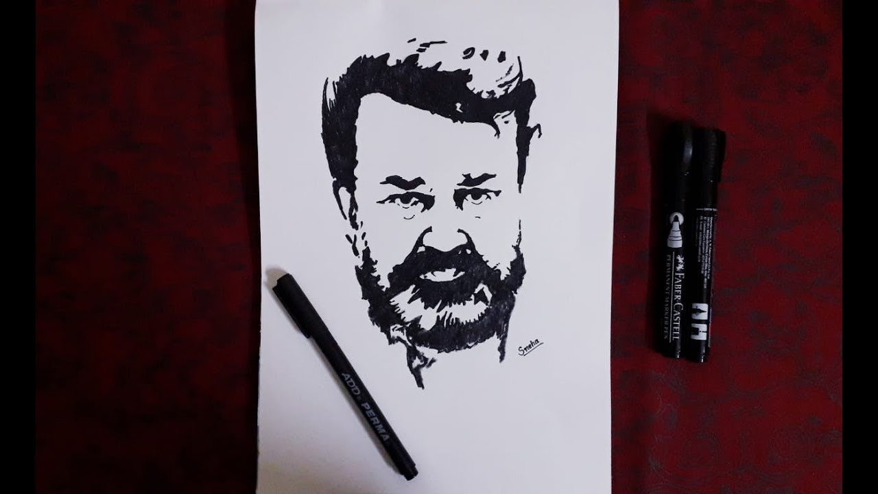 Sketch Of Malayalam Actor Mohanlal Easy Pencil Sketch Youtube