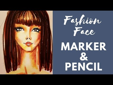 Live Demo!!  Drawing a Fashion Face with Copics and Colored Pencils!