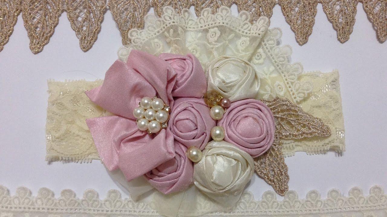 Tiara con flor bot n de tela video no 432 - Material para hacer diademas ...