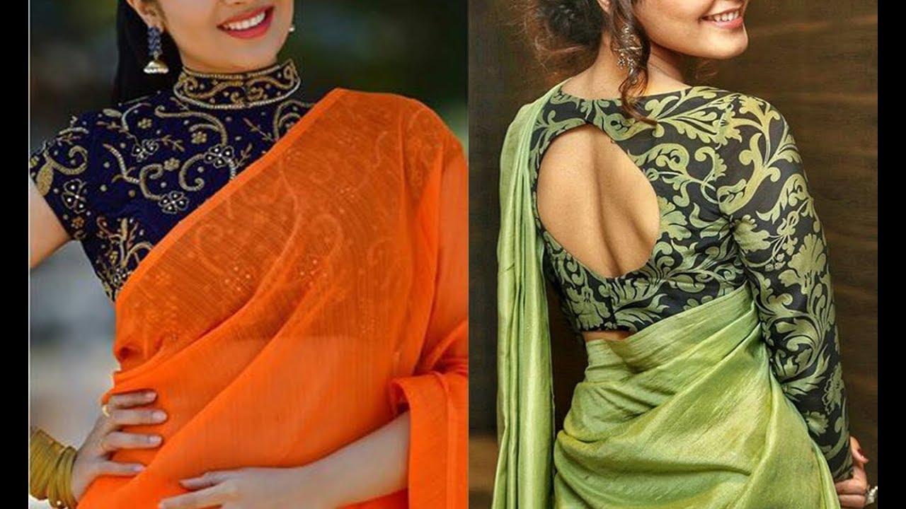 90773a5b354ed6 Blouse Designs For Plain Sarees 2019 Collection | Blouse Patterns For Plain  Sarees