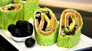Рулет из лаваша с семгой, авокадо и сливочным сыром | Сырный РУЛЕТ с красной рыбой