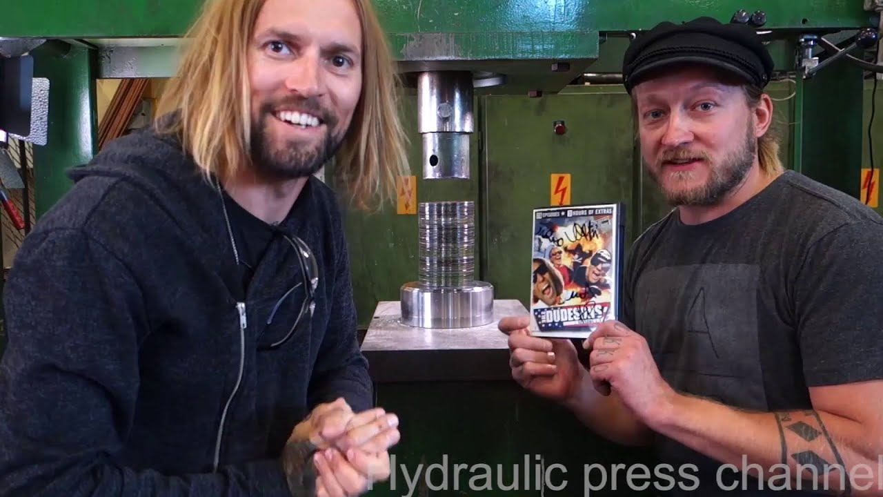 crushing dvds for dudesons with hydraulic press youtube