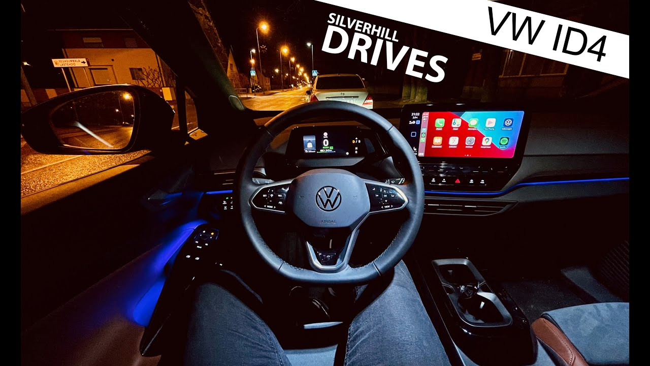 2021 VW ID4 - night time city POV drive with ambient lighting [4K]