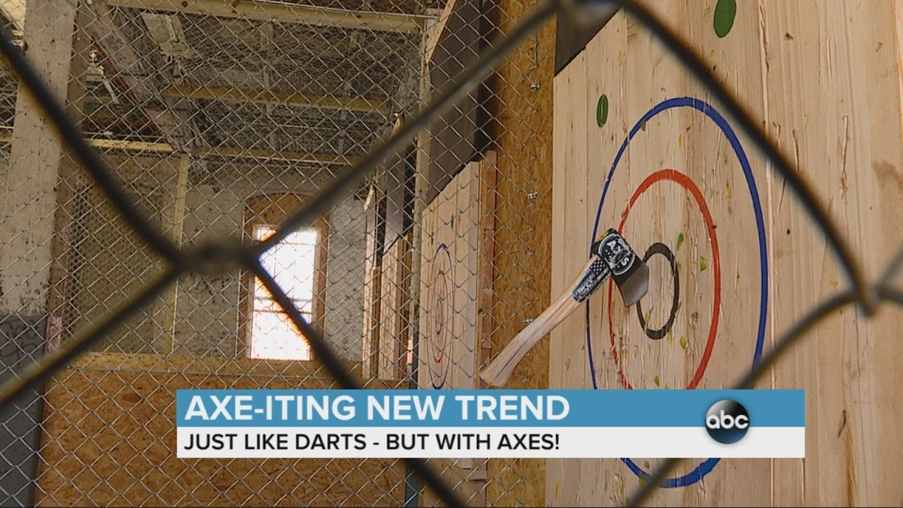axe throwing a new trend abc news youtube