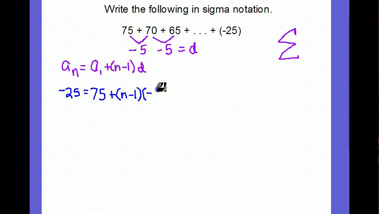 Arithmetic Series in Sigma Notation - YouTube