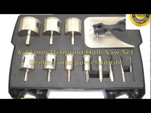 6 51mm diamond hole saw set drilling into porcelain tiles