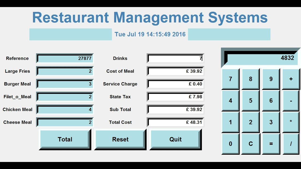 How To Create A Gui Restaurant Management Systems In