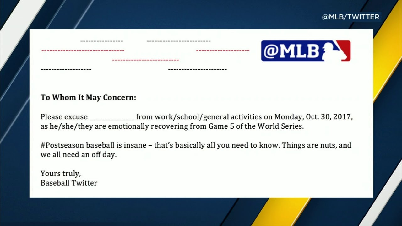 Too tired from game 5 mlbs excuse note has you covered youtube mlbs excuse note has you covered spiritdancerdesigns Gallery