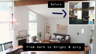 Outdated living room makeover! Bright & airy farmhouse living room