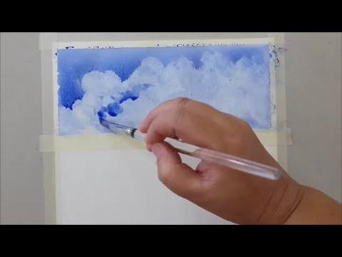 Clouds ,Easy Step,Watercolor Painting, วาดเมฆสีน้ำแบบง่ายๆ