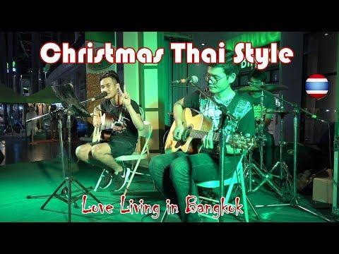 Merry Christmas Thai Street Food Curry Dessert Market Music