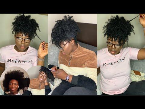 WATCH ME DO MY NATURAL 4C HAIR   PINEAPPLE W/ BANGS