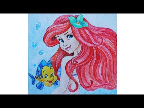 Как нарисовать РУСАЛОЧКУ карандашами Erich Krause How To Draw Mermaid Ariel | Art School