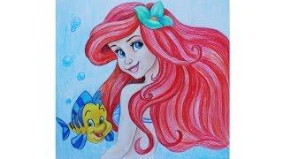 Уроки рисования. Как нарисовать РУСАЛОЧКУ карандашами Erich Krause How to Draw Mermaid Ariel(смотрите видео