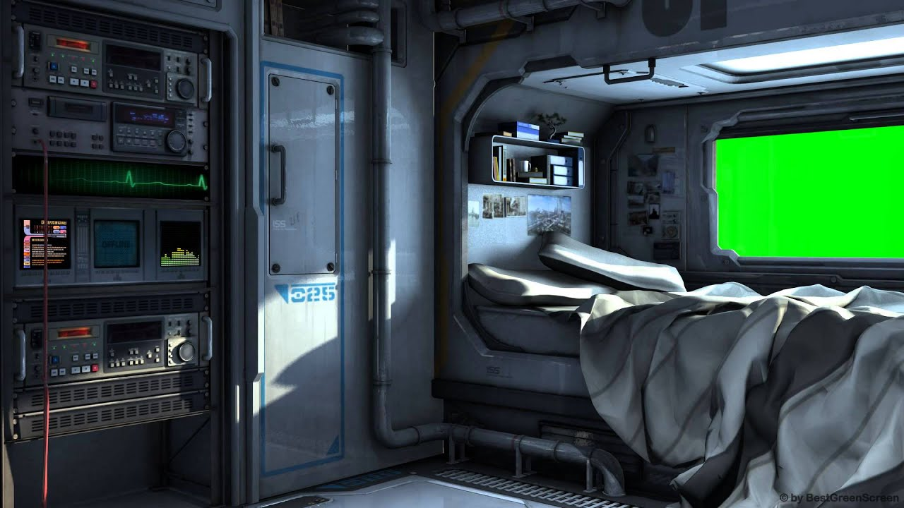 SciFi Spaceship Bedroom With Green Screen Movie