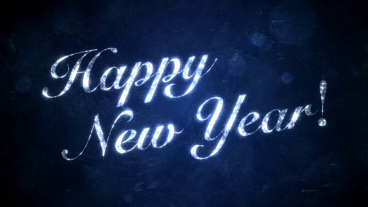 happy new year on blue hd background loop