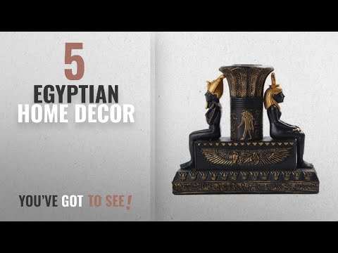 Top 10 Egyptian Home Decor [2018 ]: Egyptian Isis And Osiris Painted Candle Holder, Black and Gold