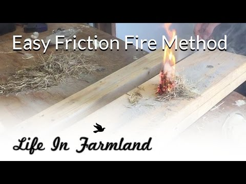 Easiest friction fire method - How to Start a fire with a 2 x 4 and a cotton ball