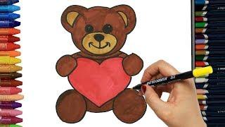 Kalpli Sevimli Ayıcık Çizelim Boyayalım | Çocuklar için Boyama | Boya Boya