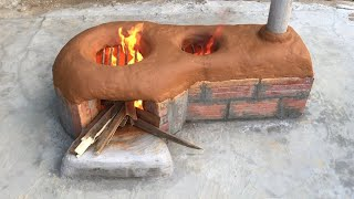 New way to make firewood stove - No smoke -  Saving firewood
