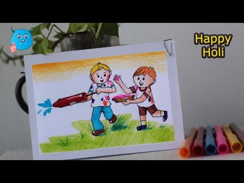 Download How To Draw Kids Celebrating Holi Festival Drawing Tutorial