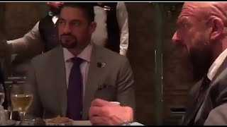 Roman reigns doing dinner with undertaker brock lesnar and vince McMahon in saudia arabia