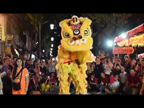 Lion and Dragon Dance Performances from Singapore Hokkien Huay Kuan at Telok Ayer Street Light Up