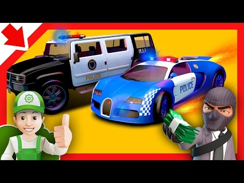 Thumbnail: Police cars chase cartoon for children and Monster Machines. Police cartoon for children Kids story