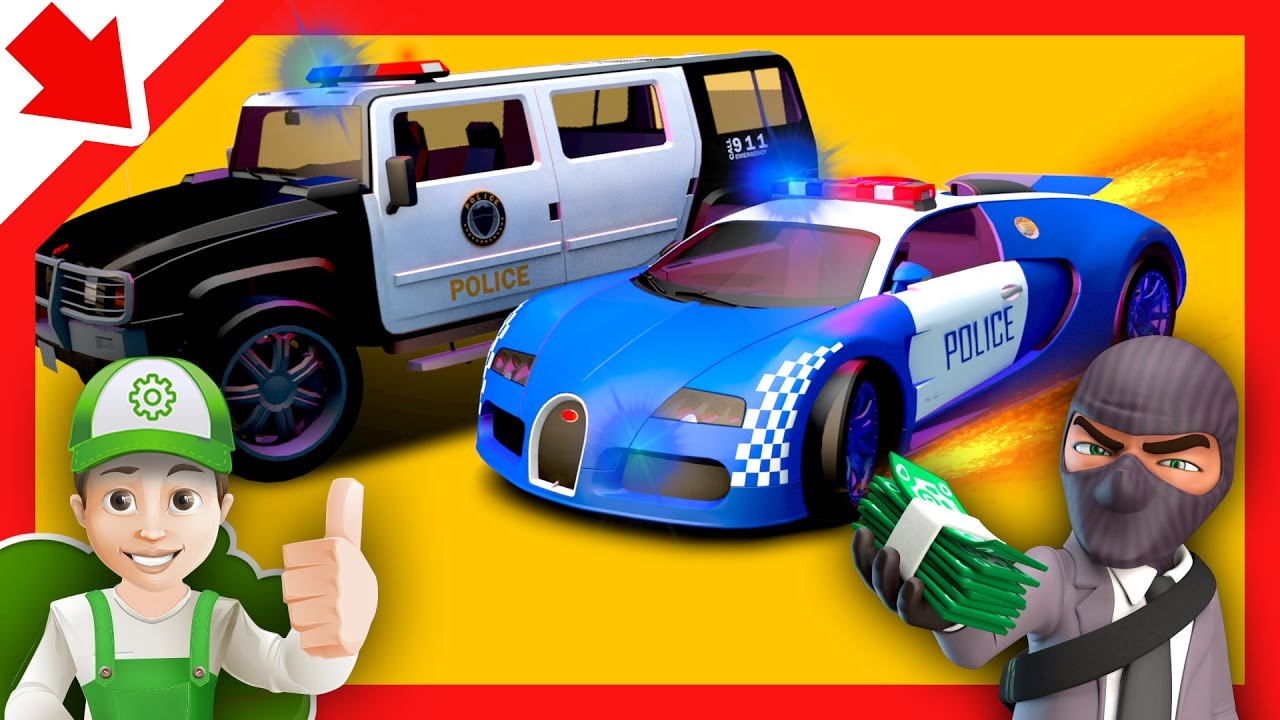 Police Cars Chase Cartoon For Children And Monster