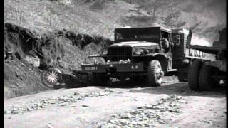 US army supply trucks come up road trail in the Kachil-Bong, K…