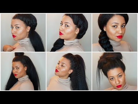 6 Easy Hairstyles For Blown Out Straight Natural Hair Youtube