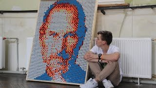 Steve Jobs made out of 432 Rubik's Cubes. Стив Джобс из 432 кубиков Рубика. New iPhone  8
