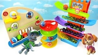 Learn Video Paw Patrol Toddler Kids Learning Colors Children Toy Marble Gumball Maze Ramp Ball Towe