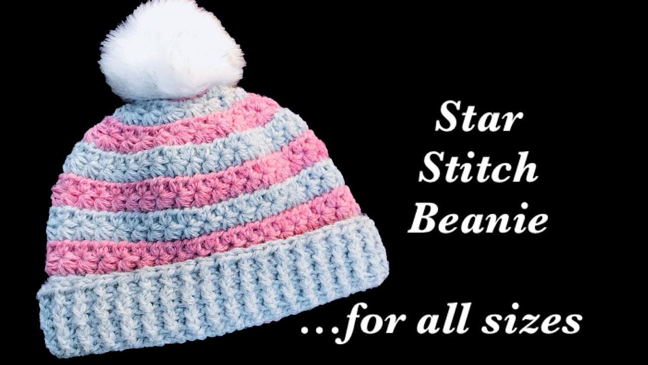 d6085794b89 How to crochet fast and easy star stitch crochet beanie hat for adults or  any size  167
